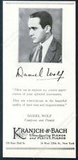 1925 Daniel Wolf photo Kranich & Bach piano vintage trade print ad
