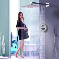 Chrome 16-inch Bathroom Rain Mixer Shower Head Combo Set Wall Mount Shower Head