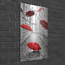 Wandbild Kunst-Druck auf Hart-Glas senkrecht 50x100 Regenschirm Paris