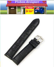 16 18 20 22 24mm Genuine Leather Embossed  Replace Wrist Watch Band Strap Unisex