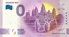 Billet zéro eurosouvenir Cambodge, Angkor Wat, tirage 3000 ex, numéro quelconque