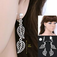 "#E122L Pair 1.9"" Long CLIP ON EARRINGS Dangle 15mm MINI Leaf Retro Drop Women"