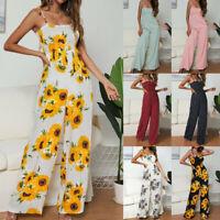 Women's Sunflower Print Jumpsuit Sleeveless Clubwear Wide Leg Pant Spot Outfit