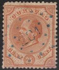 CURACAO :1876-85 25c orange-brown  perf 14 small holes SG 5 used-'201' numeral
