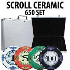 Scroll Ceramic Poker Chip Set 650 with Aluminum Case