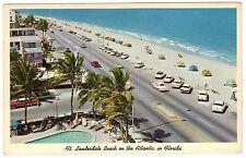 1962 Ft Lauderdale, FL Florida Beach, Old Cars, chrome postcard