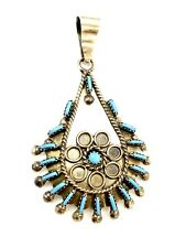 Zuni Native Turquoise Needlepoint Cluster Pendant By Philander Gia Handmade