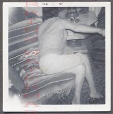 Unusual Vintage Photo Candid View of Woman Turning in Home Interior 709638