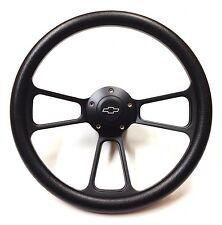 """14"""" Forever Sharp Black Billet Aluminum Steering Wheel w/ Engraved Chevy Horn..."""