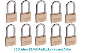 ABUS Padlocks-x 10 KEYED ALIKE Abus Padlock - 65/40HB40 - FREE POST