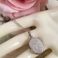Vintage Jewellery Sterling Silver Locket and Chain Necklace Antique Jewelry
