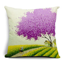 Vintage Linen Hemp Cotton Couch Sofa Cushion Cover Pillow Purple Tree 45X 45 cm