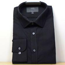 """M&s Baumwollmischung Regular Fit Langarm Shirt ~ Gr. 15.5"""" ~ schwarz"""