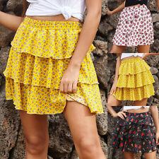 Summer Fashion Sweet Printed Short Skirt Womens Casual High Waist A-line Skirts