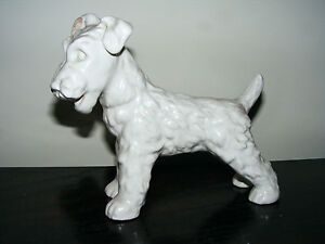 """1950's   Goebel   White  Terrier  Dog   Height  6.1/2""""    Length  7.1/2""""  Inches"""