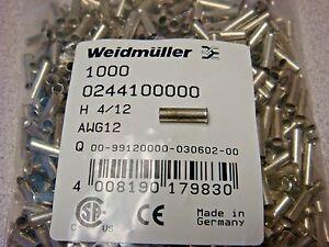 (1K) 0244100000 WEIDMULLER SINGLE WIRE FERRULE UNINSUL CRIMP 12 AWG (4.00mm²)
