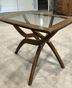 Mid-Century Modern Forest Wilson Sculptural Wood, Glass Side, End Table Pearsall