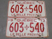 1973 Quebec Canada Pair of License Plates 603-540 La Belle Province FastFreeShip
