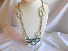 """NEW COSTUME JEWELRY GOLD TONE CHAIN, BLUE & WHITE RINGS 27"""" NECKLACE...."""