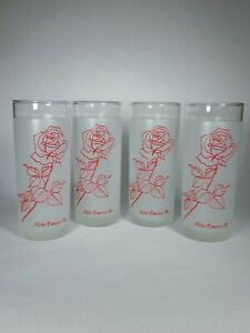 Set of 4 Floral Frosted Drinking Glasses Red Rose Design Alpha Omnicron Pi