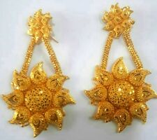 22K Gold Plated Designer 4'' Long Beautiful Indian Wedding Earrings Jhumka .b