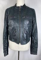 BCBG Max Azria Leather Wool Jacket S Small Moto Zippers Women's bcbgmaxazaria