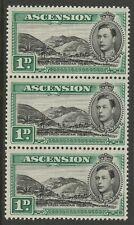 ASCENSION GEORGE VI 1d BLACK & GREEN P13½ (1938) STRIP x3 SG39 MNH