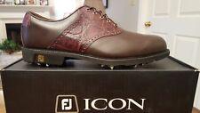 2014 Footjoy FJ ICON Traditional Mens Golf Shoes 52236 NEW Br/Brn11.5M $349 RET