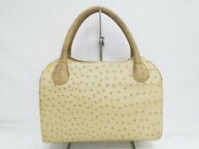 Genuine Ostrich Leather Hand Bag BAGFAN  by SEKI Beige Free Ship 41170027800 G