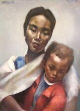 """Raymond TELLIER  (1897-1985)  huile / toile """" Femme et enfant"""". v307"""