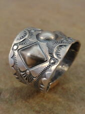 Old Style Navajo Sterling Silver Stamped Cigar Band Ring  sz 12