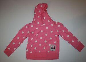 New NEXT UK Girls 3 4 Yr Pink w White Polka Dots Hoodie Top Kitty Cat Sweatshirt