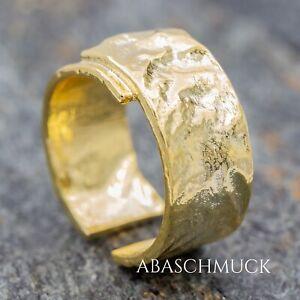 Silberring Silber 925 Ring  Verstellbar  vergoldet Offen R0774 breit, edel,