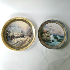 Thomas Kinkade 2 Collector Plates A Holiday Gathering and Beacon of Hope