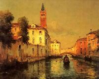 Oil painting gondola on a venetian canal nice cityscape with church chapel art