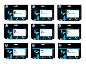 Genuine HP 70 Ink Cartridges 130ml C9448A/C9390A/C9449A/C9455A/C9457A/C9453A
