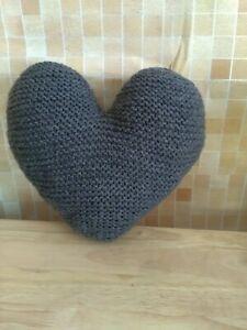 Handmade Hand-knitted Heart Shape Cushion, Charcoal grey, W33cm X L30cm