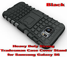 Black Heavy Duty Durable Dual Layer Tradesman Case Cover for Samsung Galaxy S6