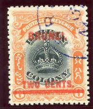 Brunei 1906 KEVII 2c on 8c black & vermilion (RPS Cert) VFU. SG 13. Sc 3.