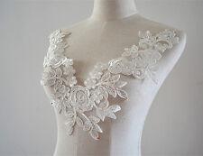 blanco crudo Encaje Motivo Bordado Aplique Para Coser Accesorios de boda 1 pieza