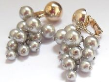NOS Vintage 1950's grape dangle cluster silver beads clip on earrings Mod ChaCha
