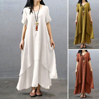 M-4XL Women Ethnic Boho Cotton Linen Long Sleeve Maxi Dress Gypsy Blouse Shirt