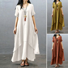 PLUS SIZE Summer Women Short Sleeve Sundress Casual Loose Long Maxi Shirt Dress.