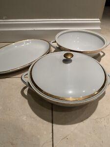Set Porcelain Bohemia Czechoslovakia - Brigitta white & gilded band Gold Colour