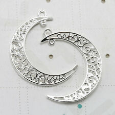 2 x argento antico filigrana Crescent Moon connettore Ciondoli Gioielli Making