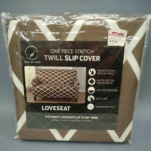 """Great Bay Home Furniture Love Seat Twill Slip Cover NIP  Brown up to 68"""""""