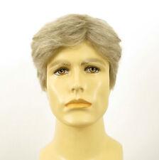 Perruque homme 100% cheveux naturel blanc méché gris DAVID 51