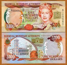 Bermuda, $100, 2000, QEII, P-55 (55a), UNC > Low S/Ns