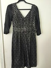 Marc by Marc Jacobs Metallic Black Lace V-Neck Dress w/ Bow Detail, Size 6
