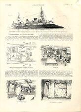 Croiseur-cuirassé Dupuy-de-Lôme président Félix Faure en Bretagne GRAVURE 1896